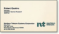 Northern Telecom Systems Corporation business card