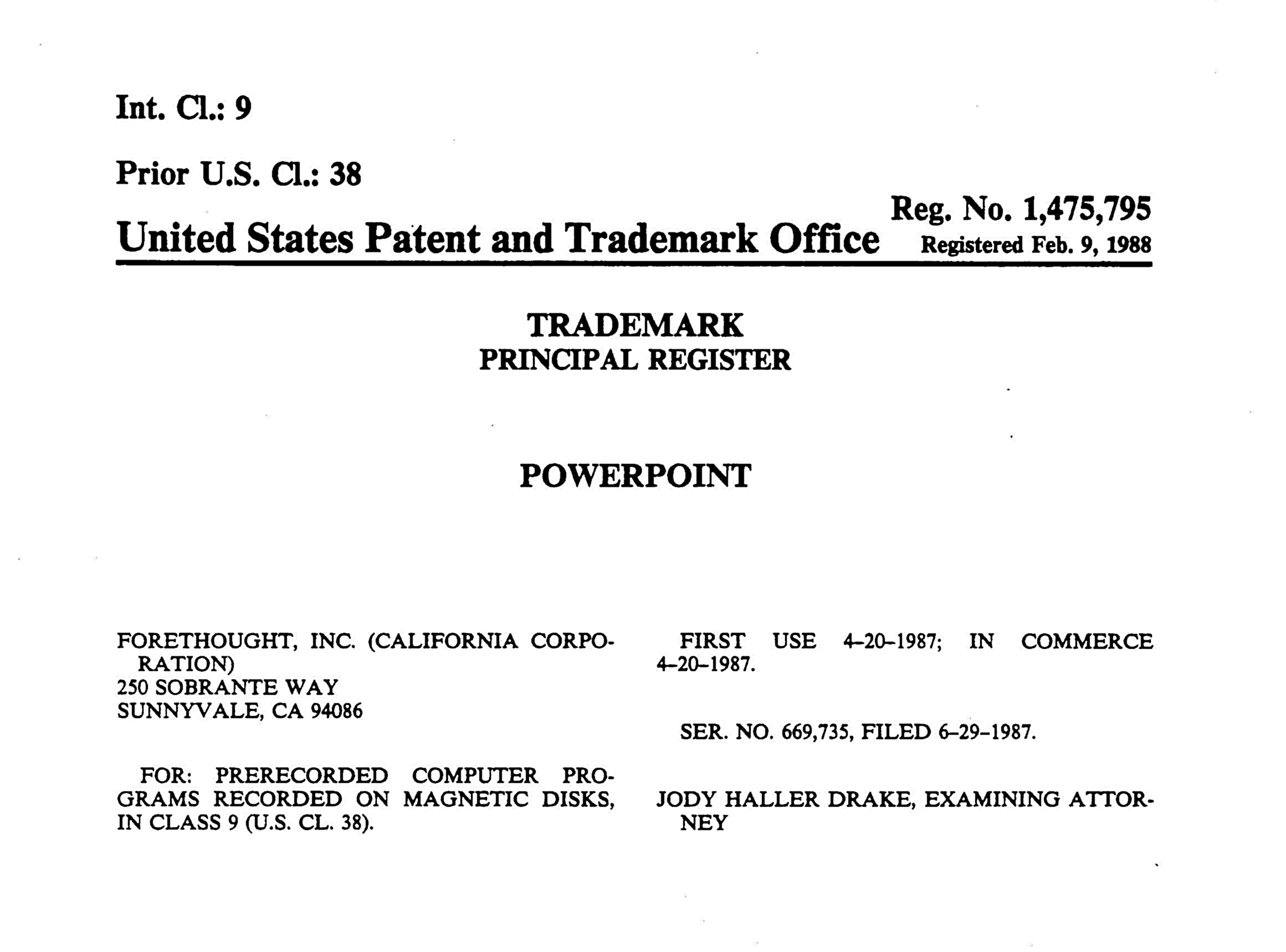 PowerPoint Trademark Registration US 1987